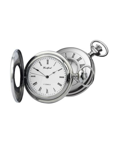 Mechanical Chrome Plated Plain Pocket Watch With Chain